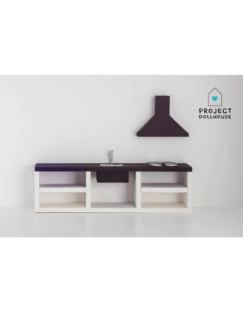 Project Dollhouse Modern kitchen black 25 cm