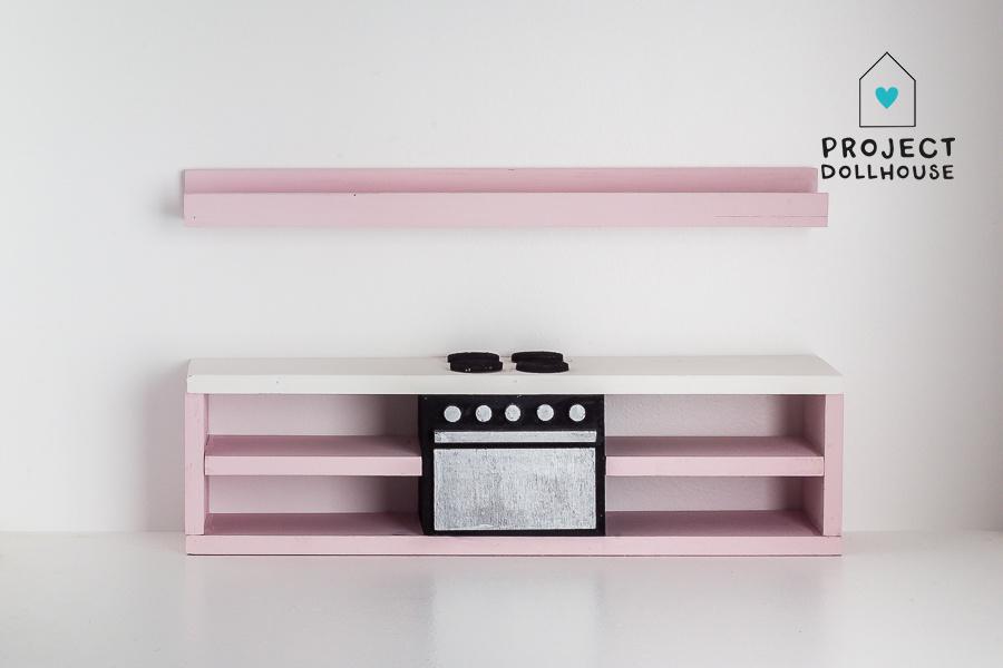 Pastelroze keuken met oven 25 cm-2