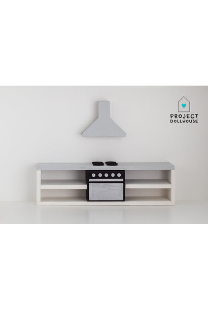 Modern kitchen grey 25 cm with oven