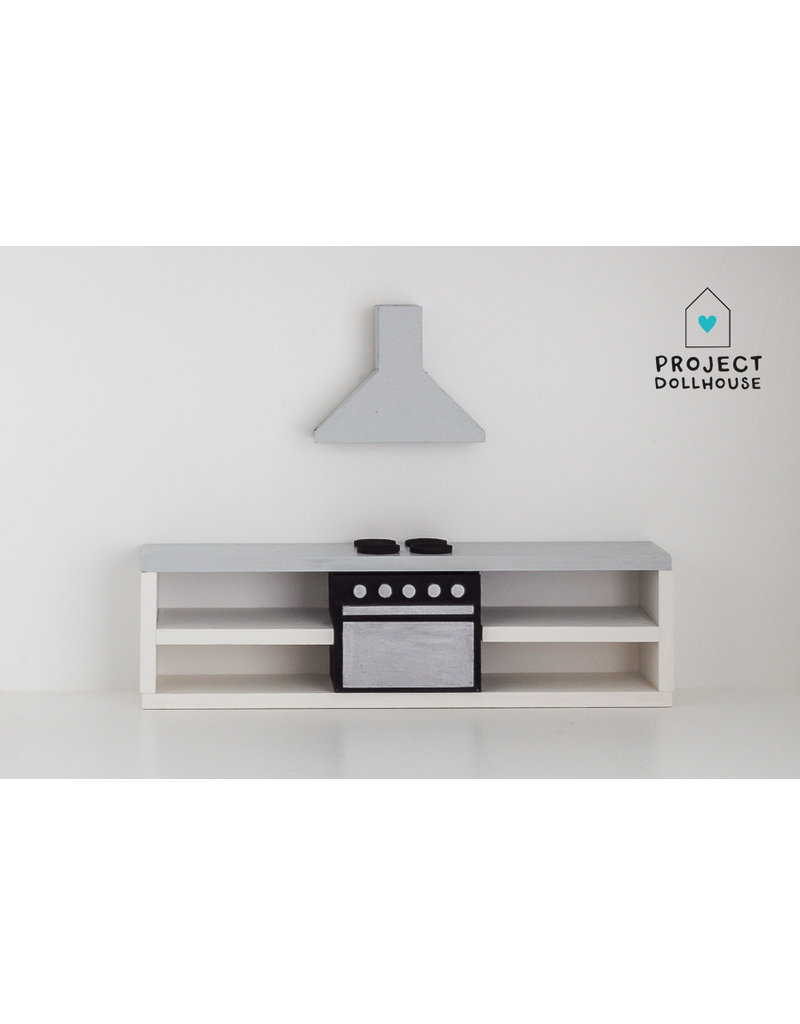 Project Dollhouse Modern kitchen grey 25 cm with oven