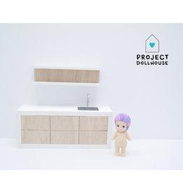 Project Dollhouse Houten keuken witte details 18 cm