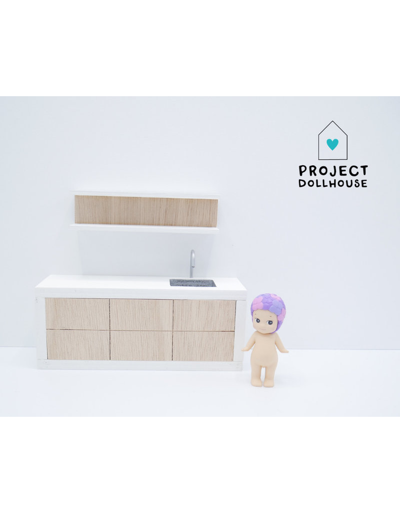 Project Dollhouse Wooden kitchen with white details 18 cm