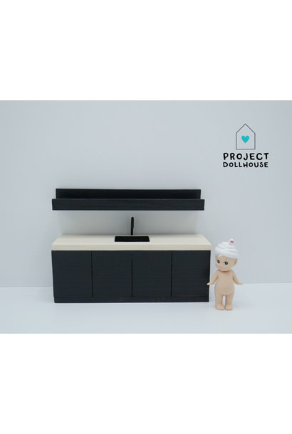 Black kitchen with wooden countertop 18 cm