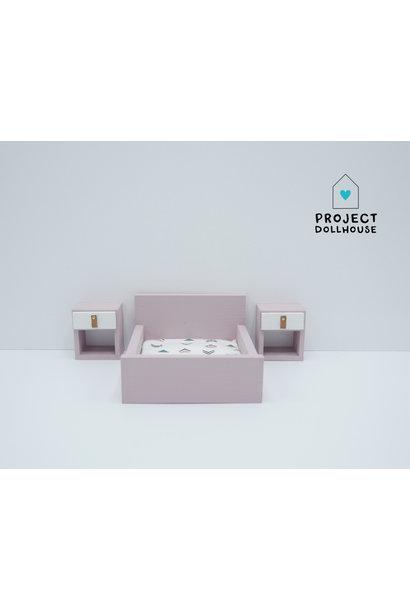 "Old pink Bedside tables ""Cube"""