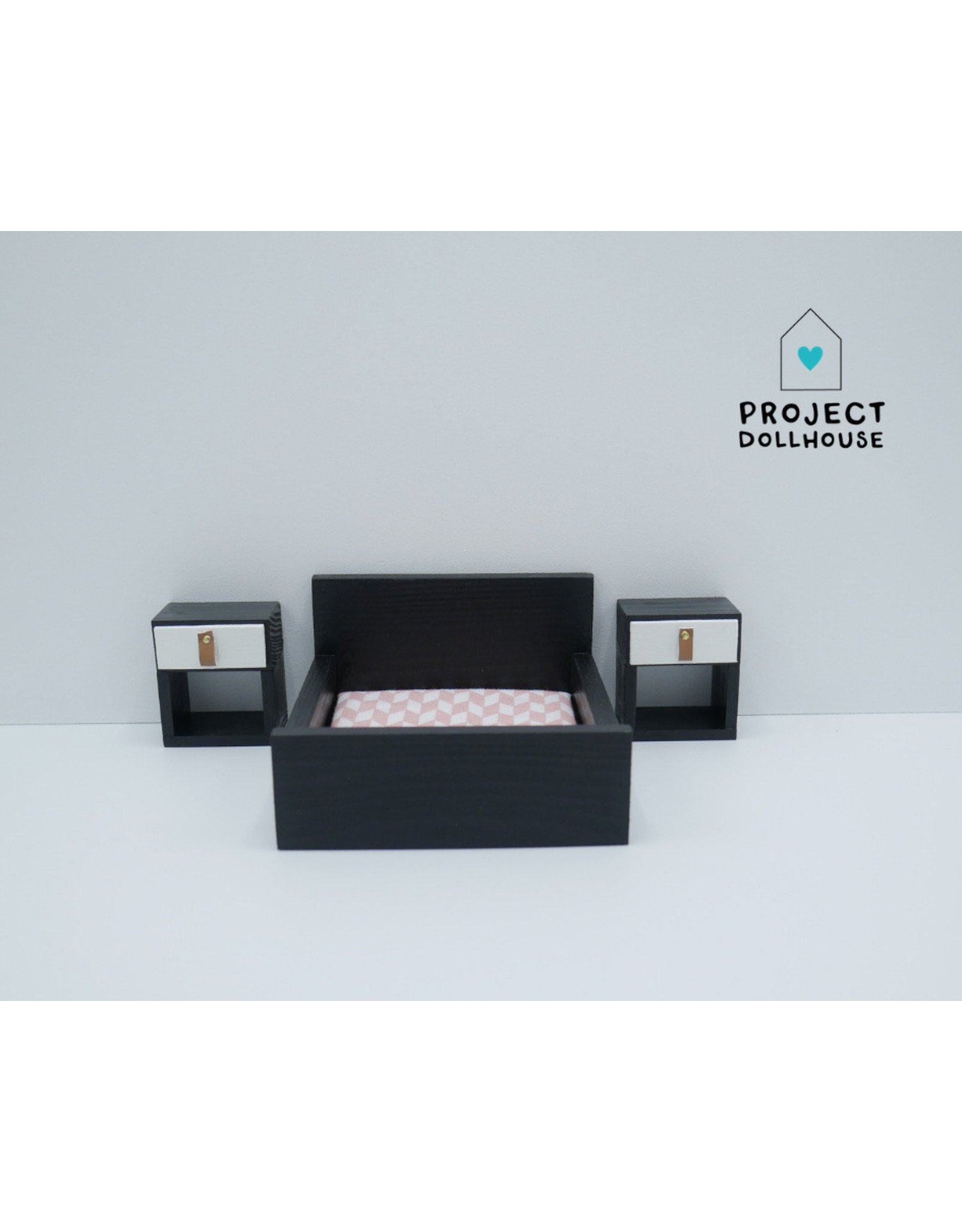 "Project Dollhouse Black bedside tables ""Cube"""