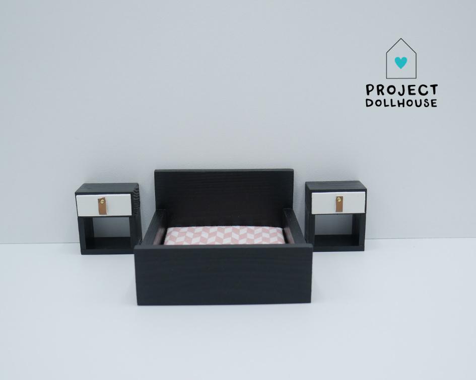 Nachtkastjes kubus Zwart-2