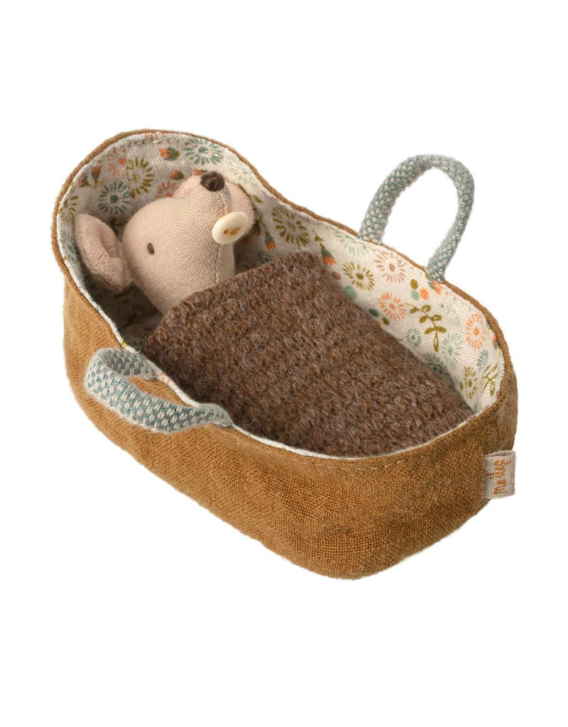 Maileg Baby Mouse in Carry Cot