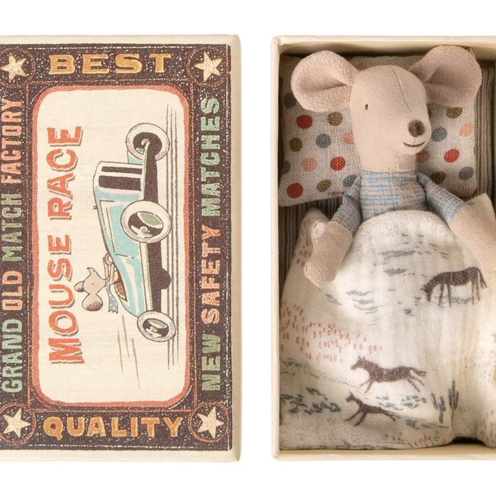 Little Brother Mouse in Match Box  - 10 cm-1