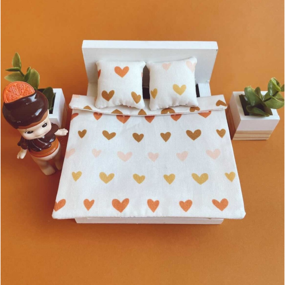 Bedding Dollhouse Double bed Hearts-1