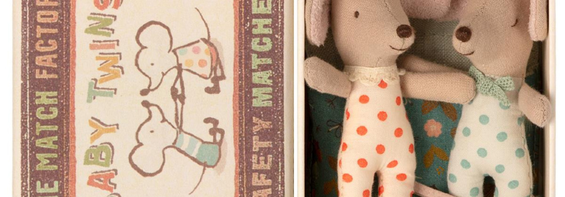 Baby Twins in Matchbox - 8 cm