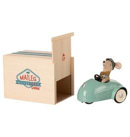 Maileg Little Brother Mouse in Car with Garage - Blue