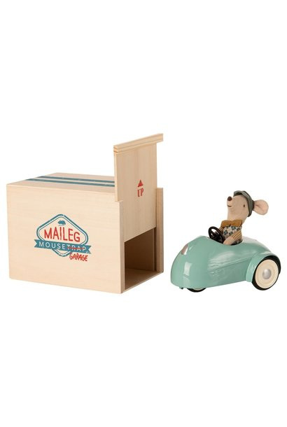 Little Brother Mouse in Car with Garage - Blue