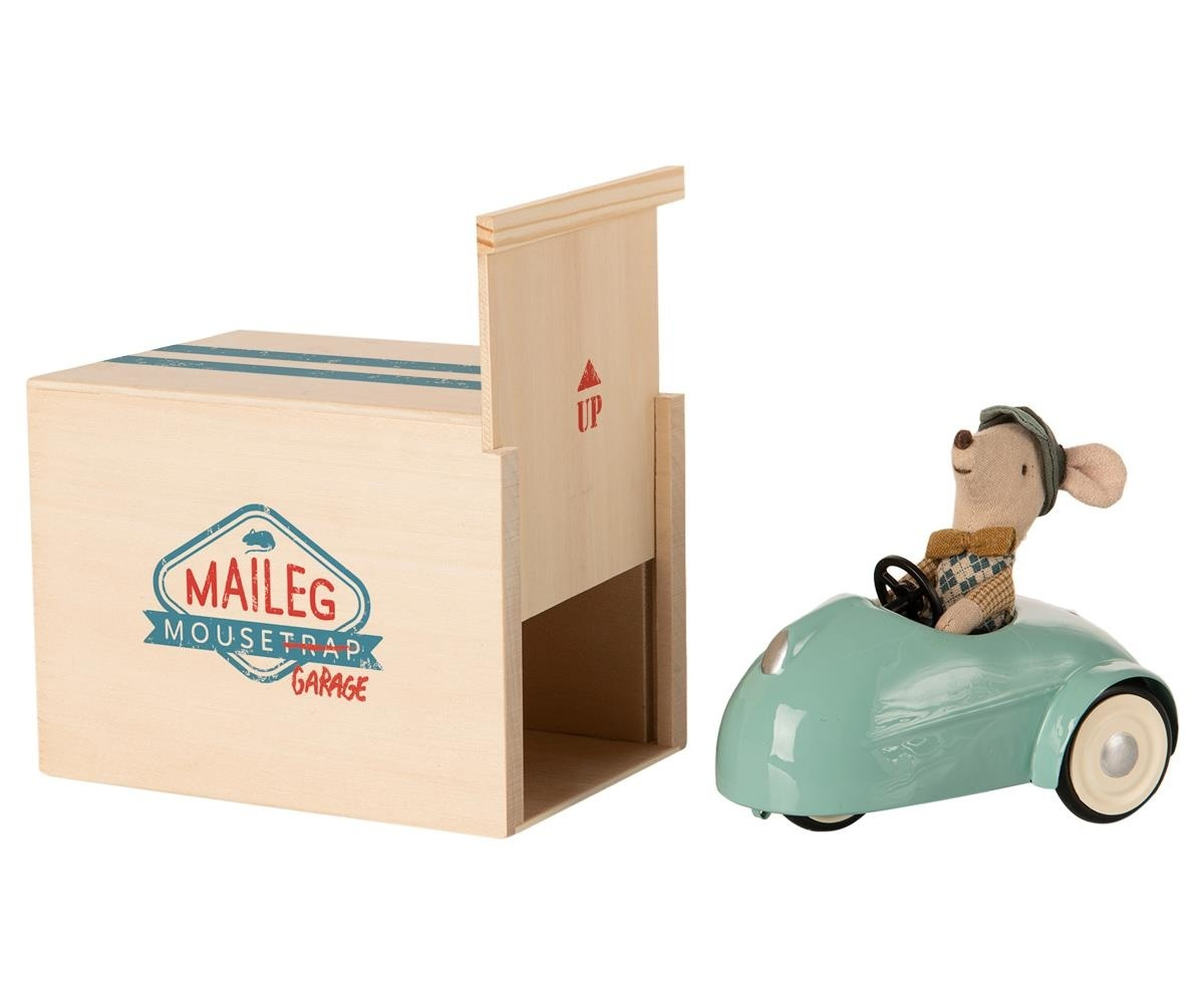 Little Brother Mouse in Car with Garage - Blue-1