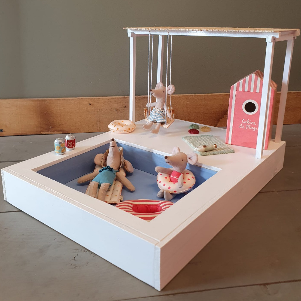 Dollhouse Swimming Pool with Pergola and Swing-4
