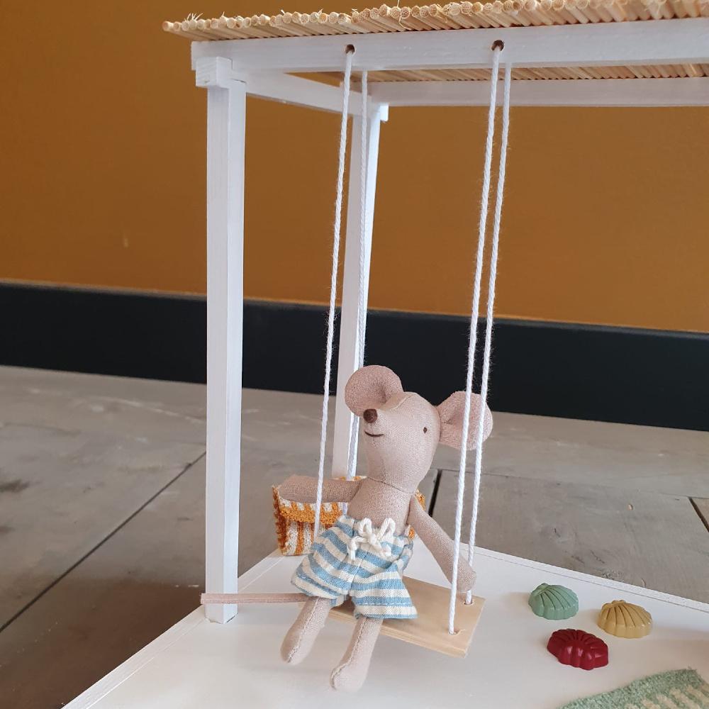 Dollhouse Swimming Pool with Pergola and Swing-2
