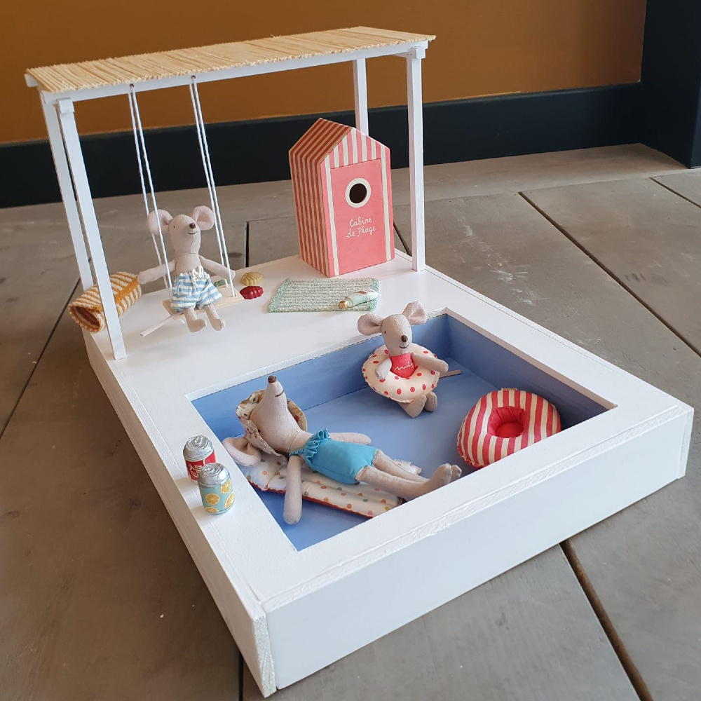 Dollhouse Swimming Pool with Pergola and Swing-1