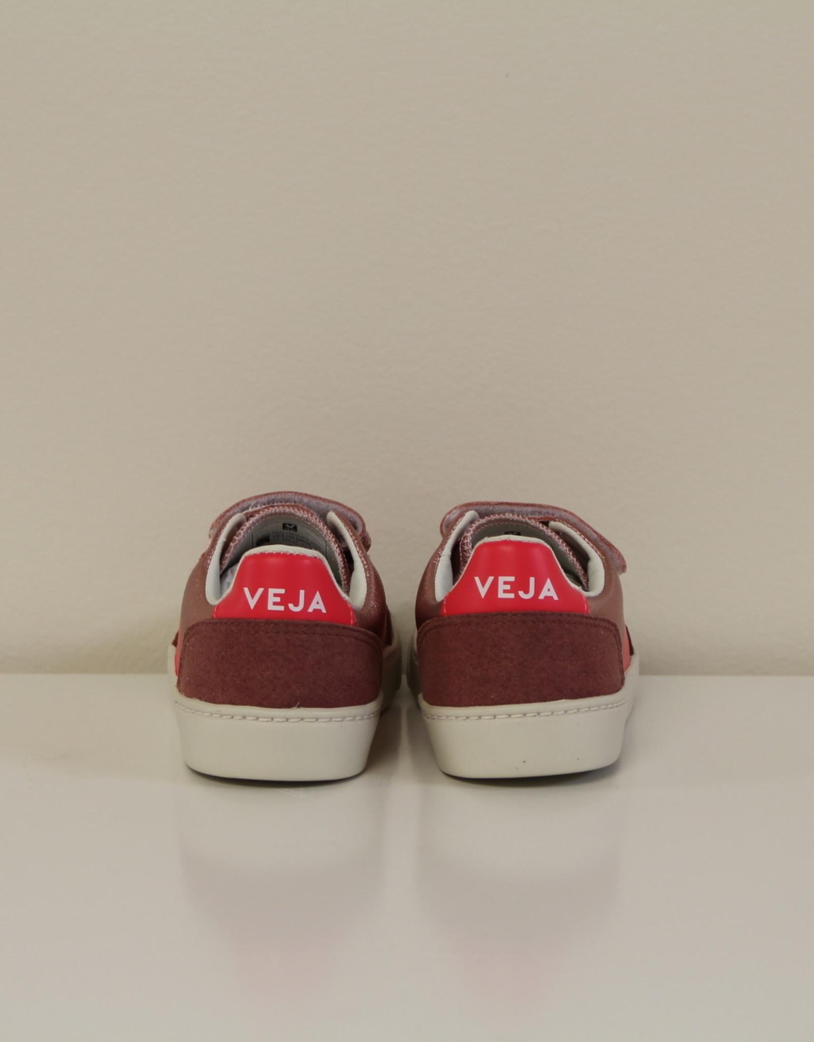 VEJA small V12 velcro leather nacre rose fluo