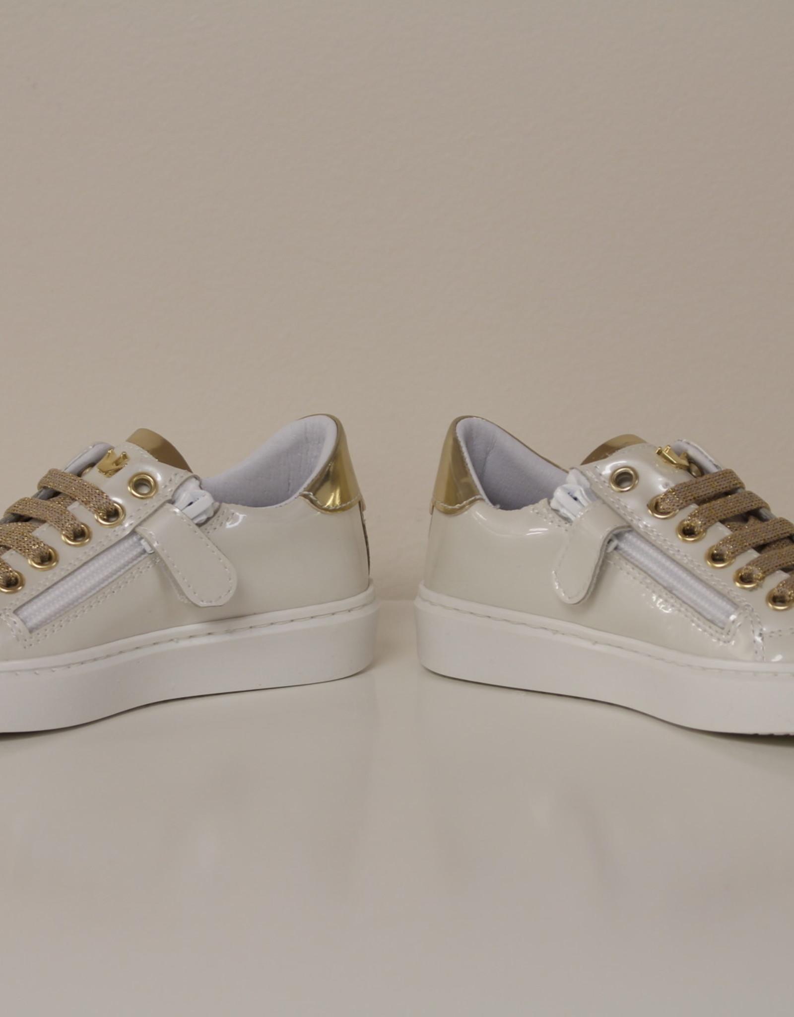 Banaline sneaker wit blinkend goud