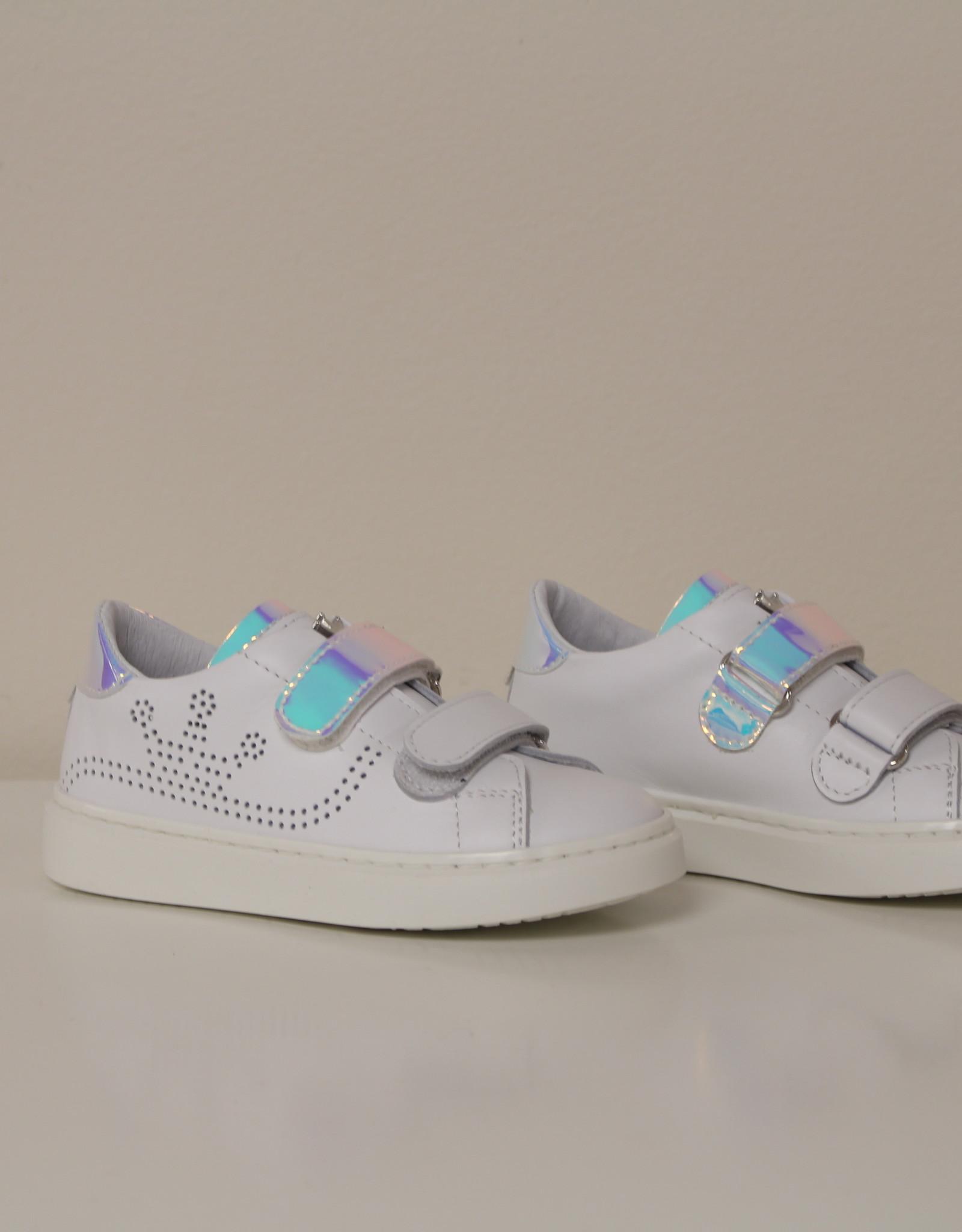Banaline witte sneaker met velcro in ice blue