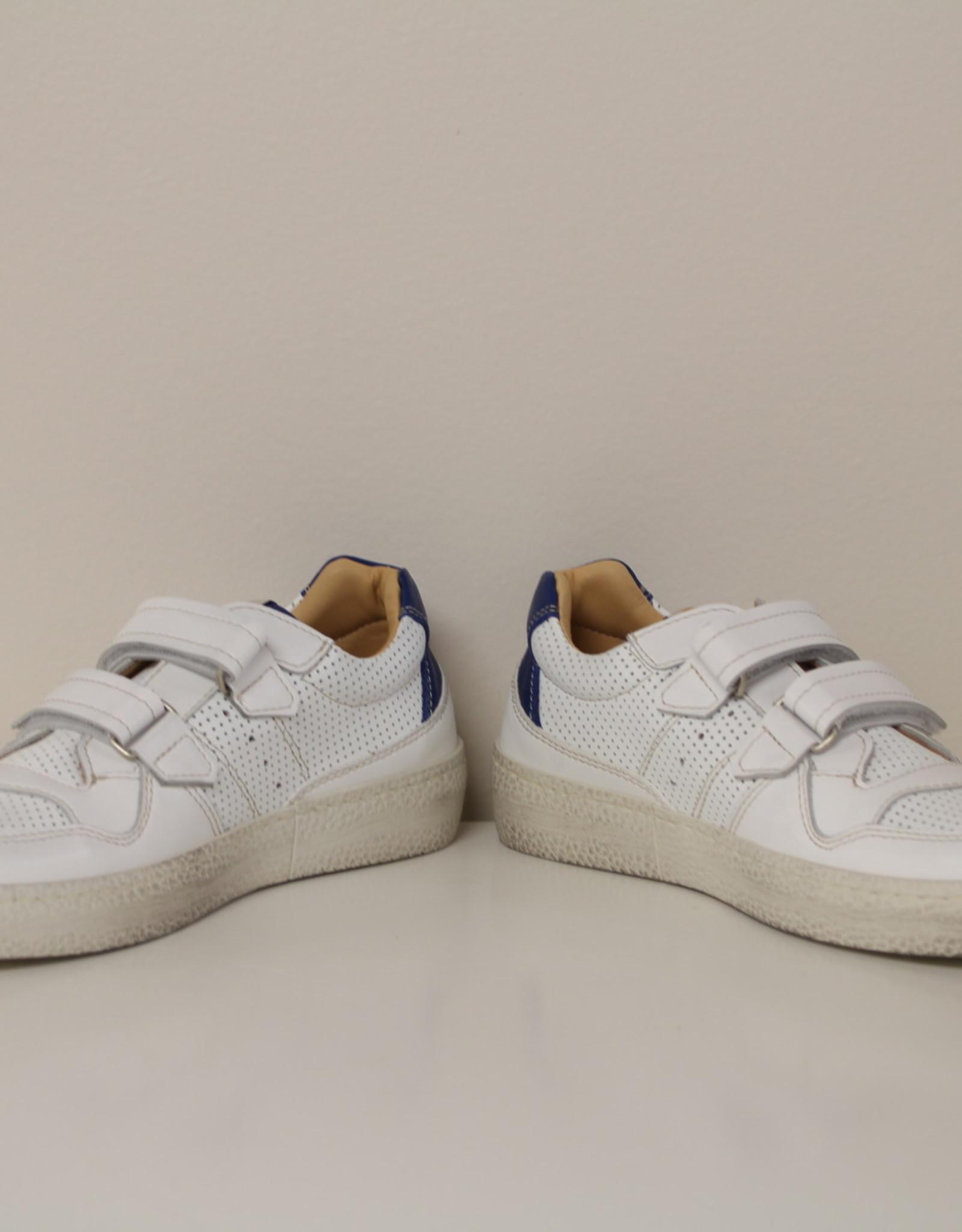 Ocra 406 witte sneaker met blauw accent velcro