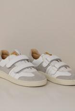 Ocra 411 witte sneaker met grijs accent velcro