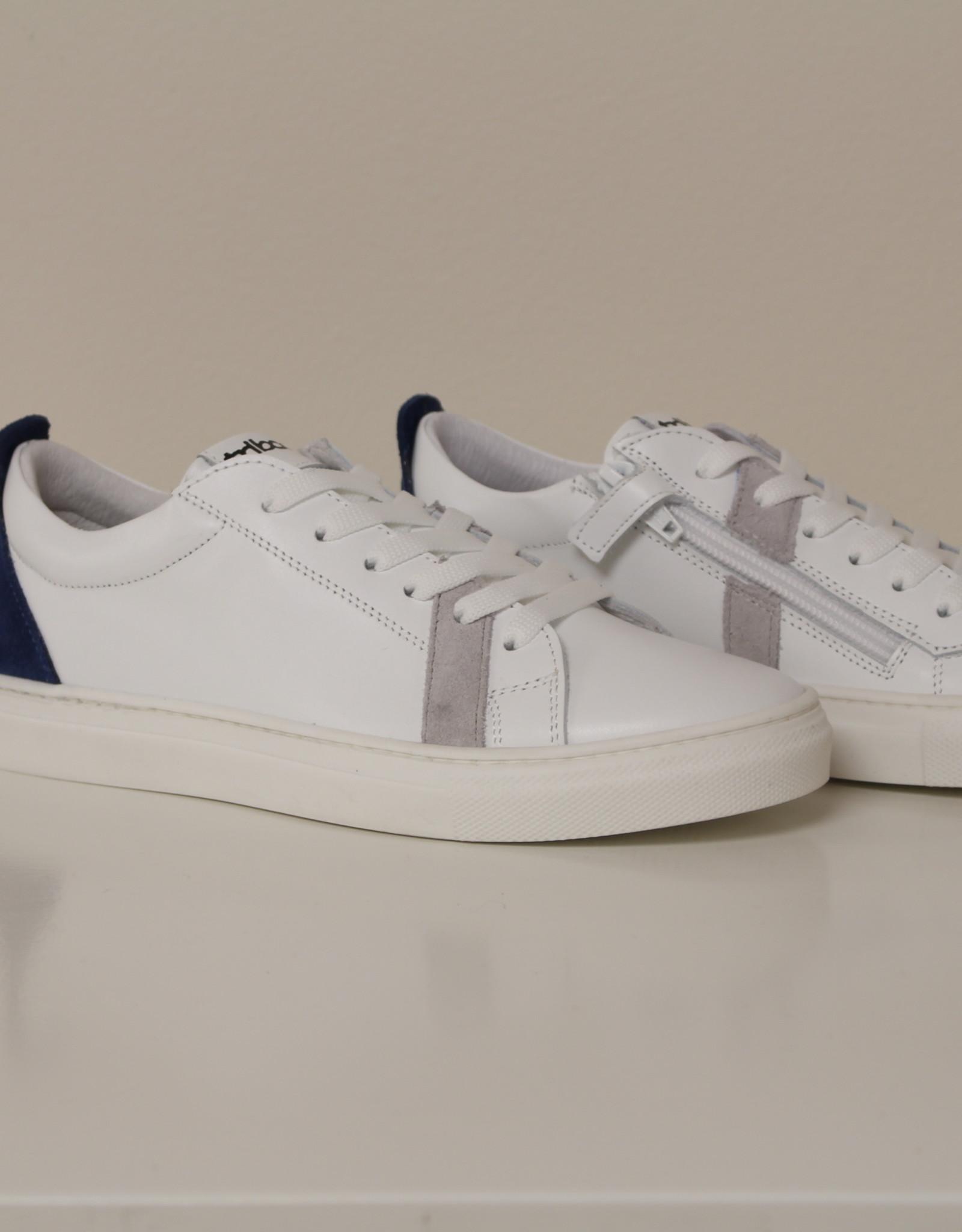 La Triboo 8733 witte sneaker blauw - grijs