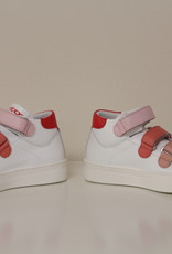 La Triboo hoge sneaker wit met roze velcro