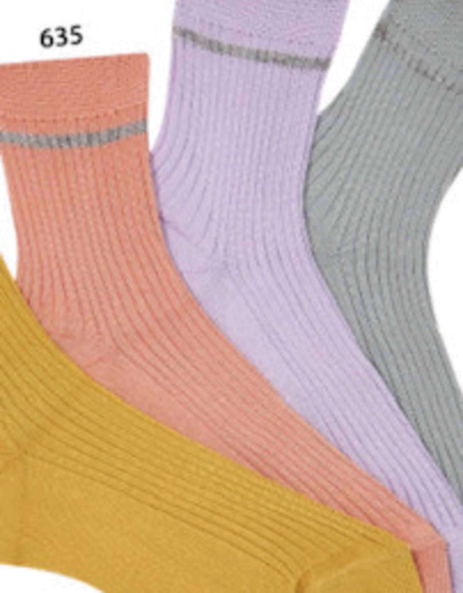 Condor 3.286/4 rib short socks metallic stripe