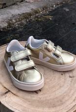 VEJA esplar small velcro leather gold white lateral