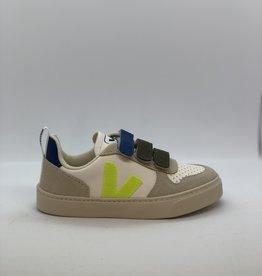 VEJA Bonton small chromefree leather white jaune indigo velcro