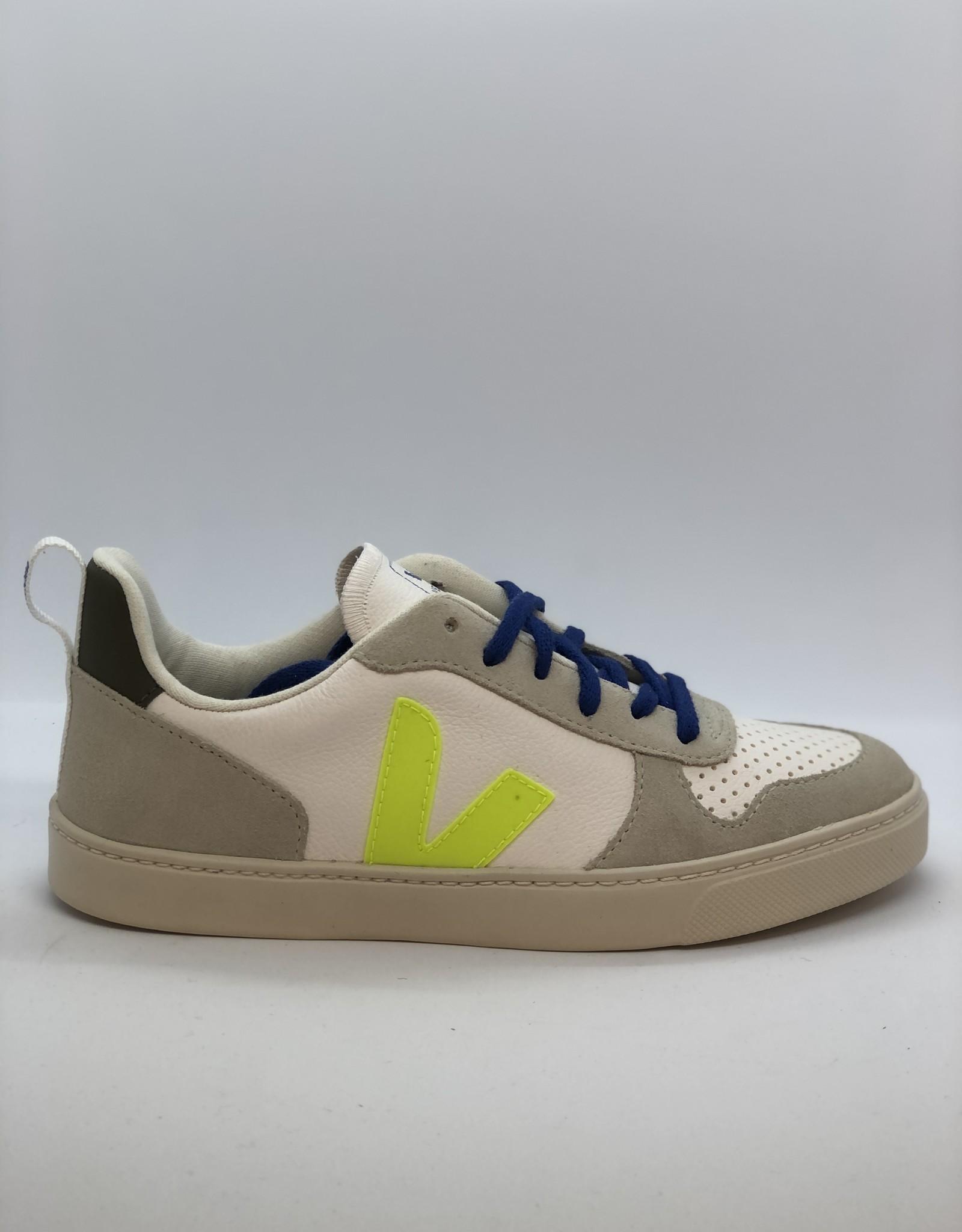 VEJA Bonton small chromefree leather white jaune indigo