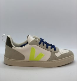 VEJA Bonton small chromefree leather white jaune indigo