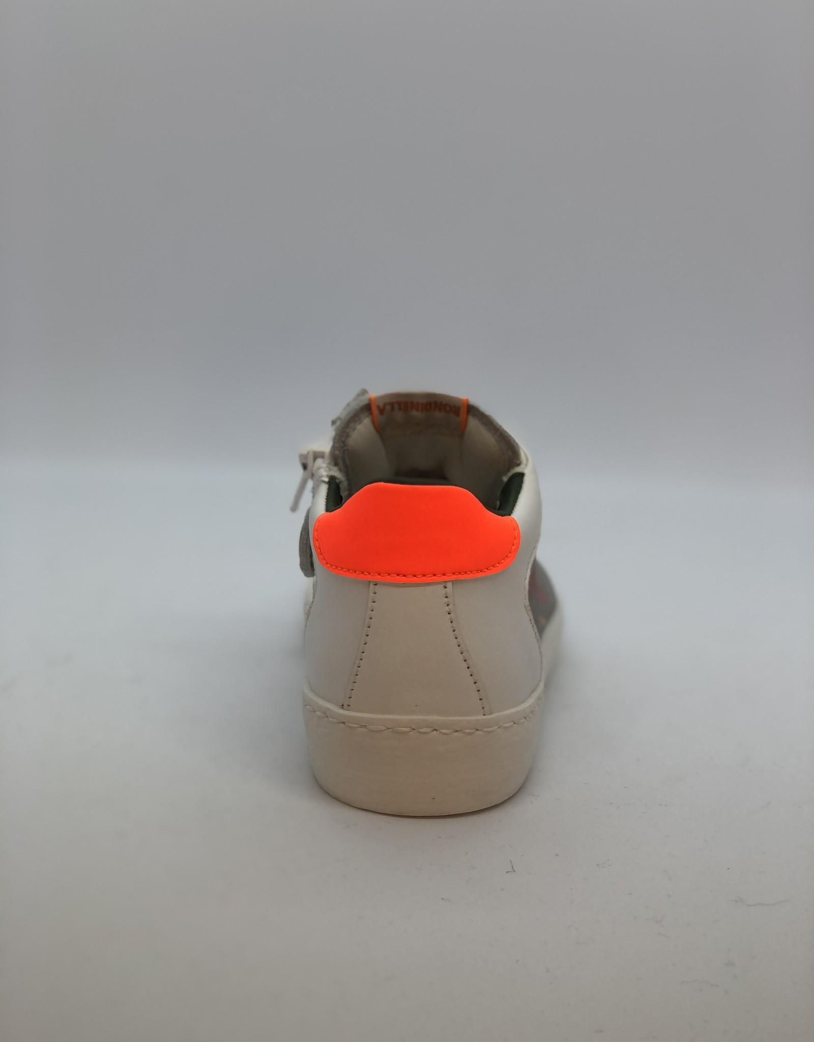 Rondinella 4628B witte sneaker met oranje accent