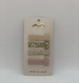 Mimi & Lula clips roze/bloem/goud (4)