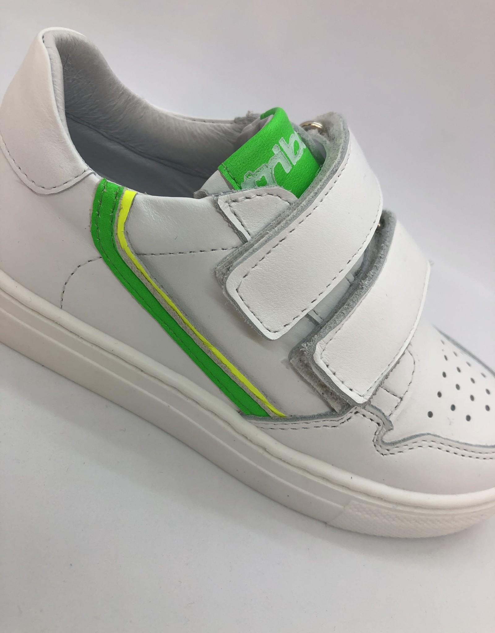 La Triboo 8879 witte sneaker velcro groen/geel