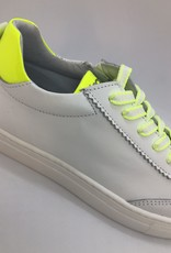La Triboo 8921 witte sneaker fluo geel accent veter/rits