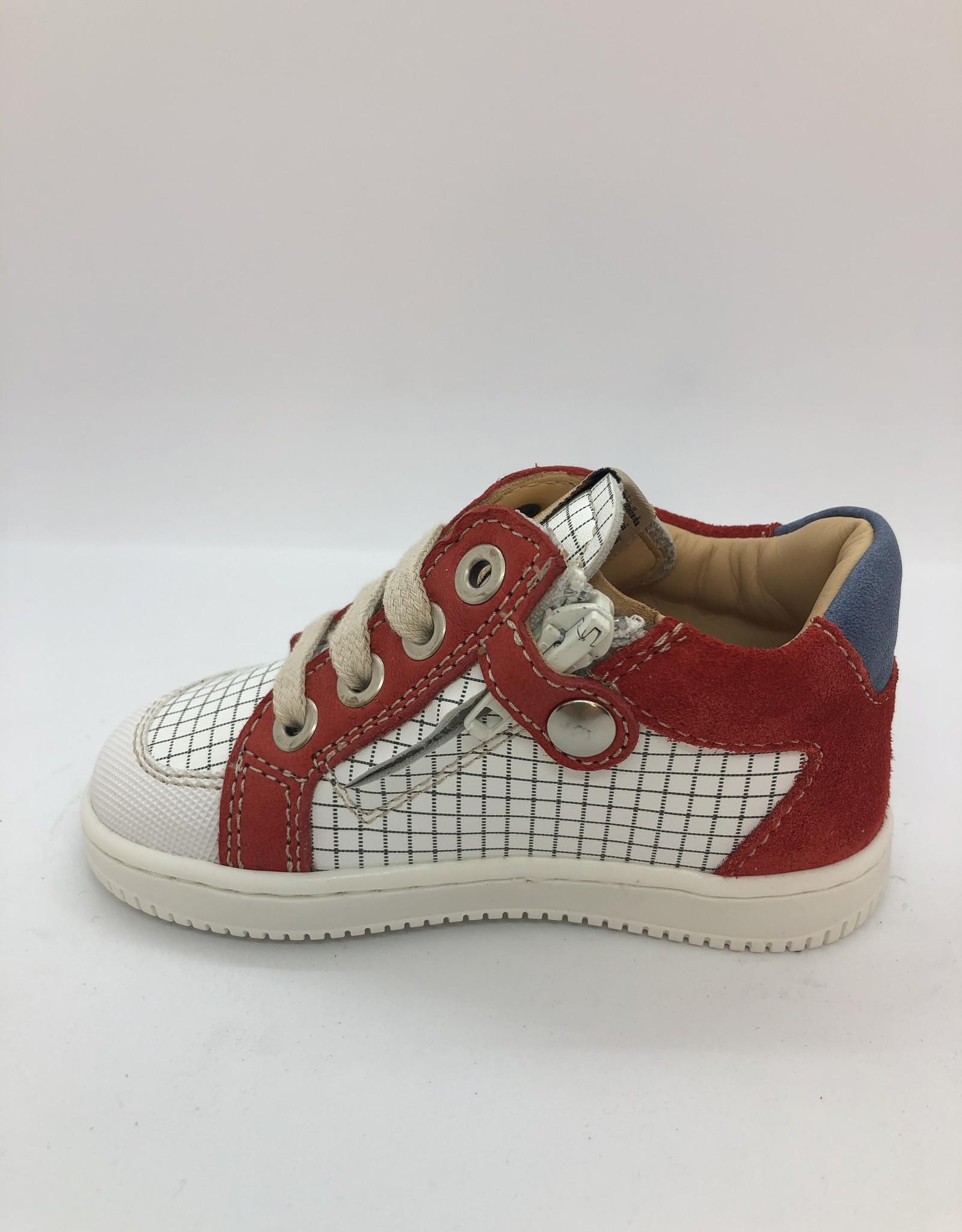Ocra D076 sneaker wit rood veter/rits
