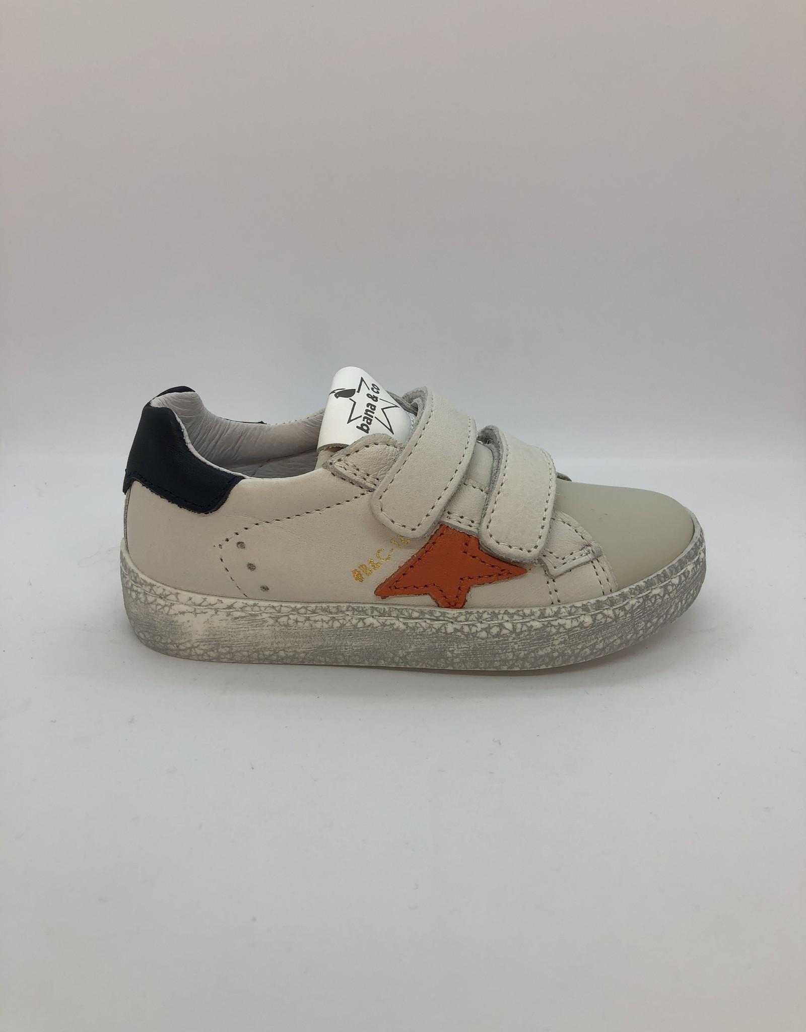 Bana & Co witte sneaker oranje ster veter/rits
