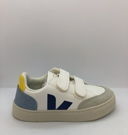 VEJA small V12 velcro white multico steel