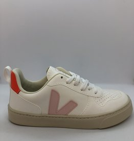 VEJA small V-10 laces white_petale_orange_fluo
