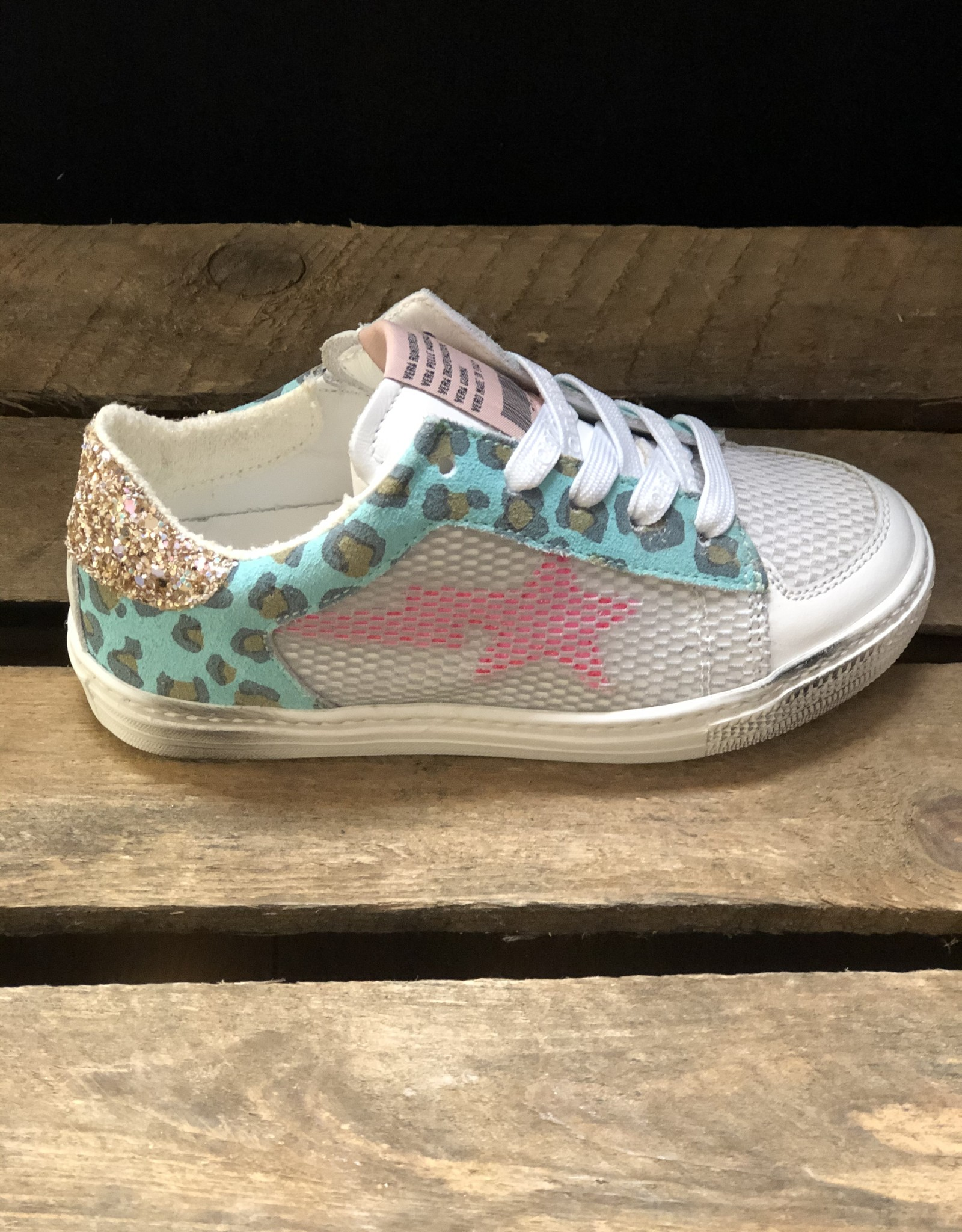 Rondinella 11731-1 sneaker wit/blauw roze ster veter/rits