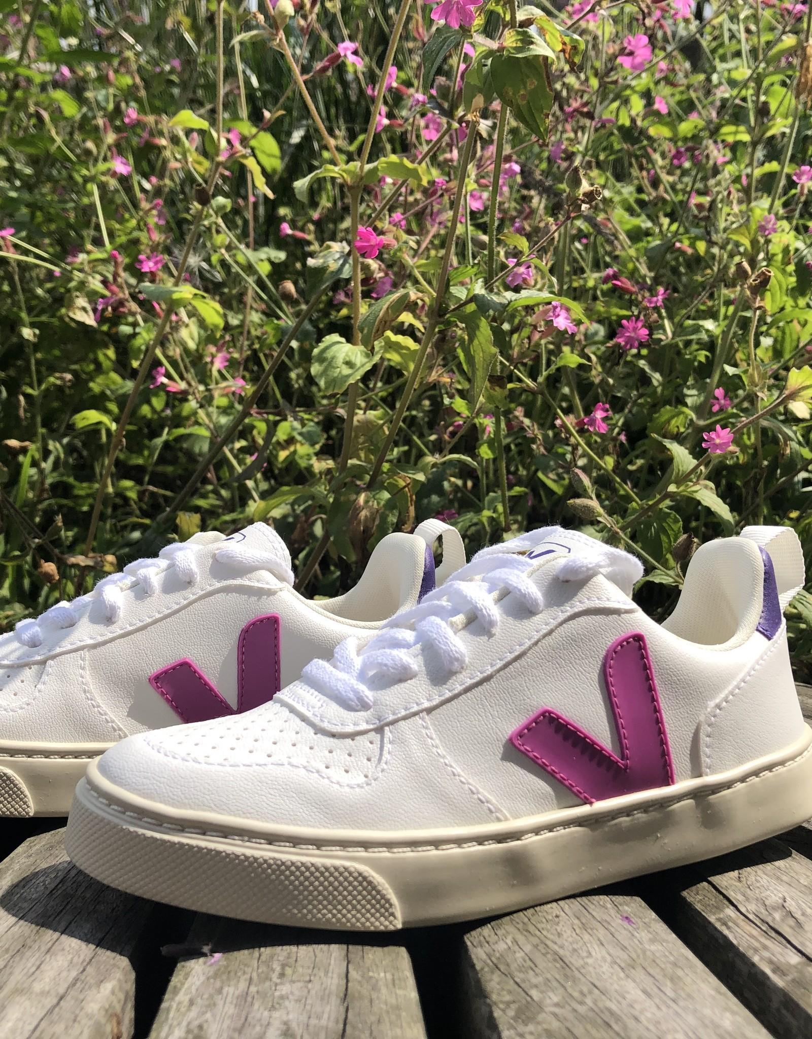 VEJA small V-10 laces white ultraviolet purple