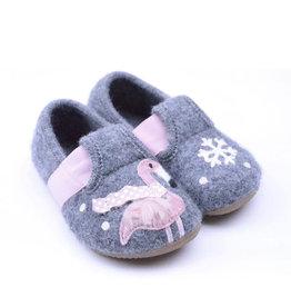 Kitzbuhel 3623 grijs slipper winter flamingo and snowflake