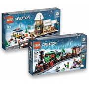 LEGO 10259 + 10254 Creator Winterdorp Station en Kersttrein