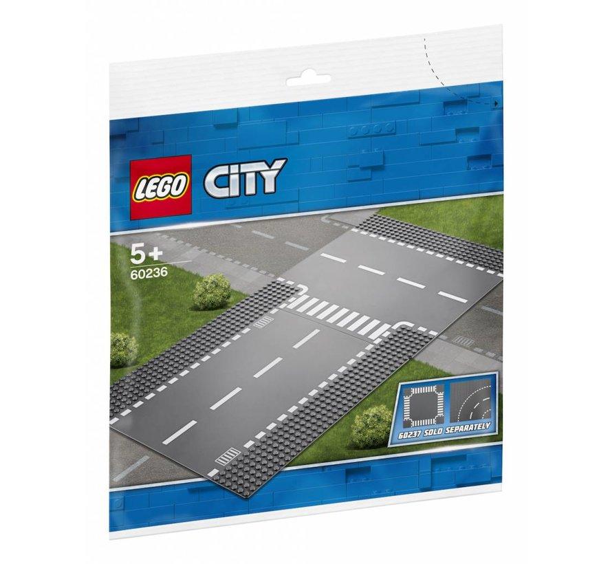 60236 City Rechte wegenplaten en T-kruising
