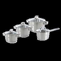 Conical Glas Kookpannenset - 4 delig - RVS - met glazen deksels
