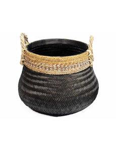 Van der Leeden Basket Bamboo Black  - (D)58 x (H)40 cm
