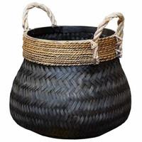 Basket Bamboo Black - (D)46 x (H)35 cm