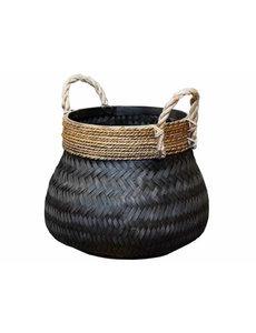 van der Leeden Basket Bamboo Black - (D)46 x (H)35 cm