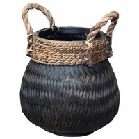 Basket Bamboo Black - (D)34 x (H)24 cm